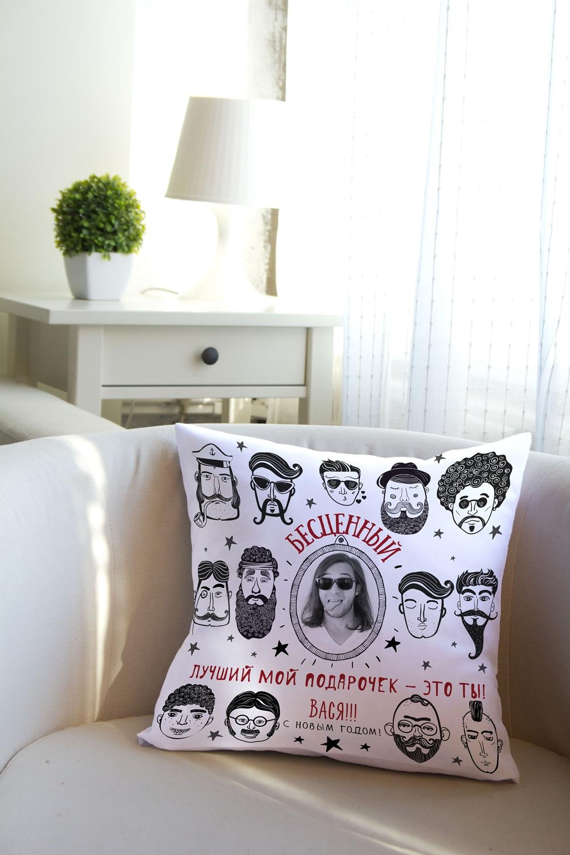 Подушка декоративная с Вашим именем Мужчина-подарокДекоративные подушки<br>Подушка декоративная, 35*35см, текстиль, с нанесением персонального текста<br>
