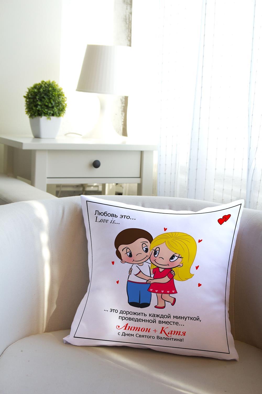 Подушка декоративная с Вашим именем Любовь это…Декоративные подушки<br>Подушка декоративная, 35*35см, габардин, с нанесением персонального текста<br>