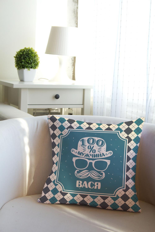 Подушка декоративная с Вашим именем Настоящий мужчинаДекоративные подушки<br>Подушка декоративная, 35*35см, габардин, с нанесением персонального текста<br>