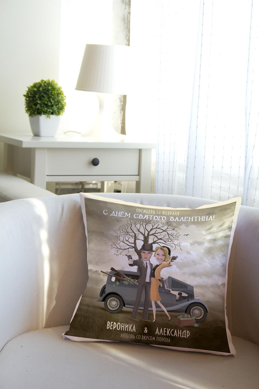 Подушка декоративная с Вашим именем Бонни и Клаи?дДекоративные подушки<br>Подушка декоративная, 35*35см, габардин, с нанесением персонального текста<br>