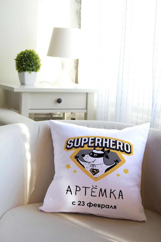 Подушка декоративная с Вашим именем СупергеройДекоративные подушки<br>Подушка декоративная, 35*35см, габардин, с нанесением персонального текста<br>
