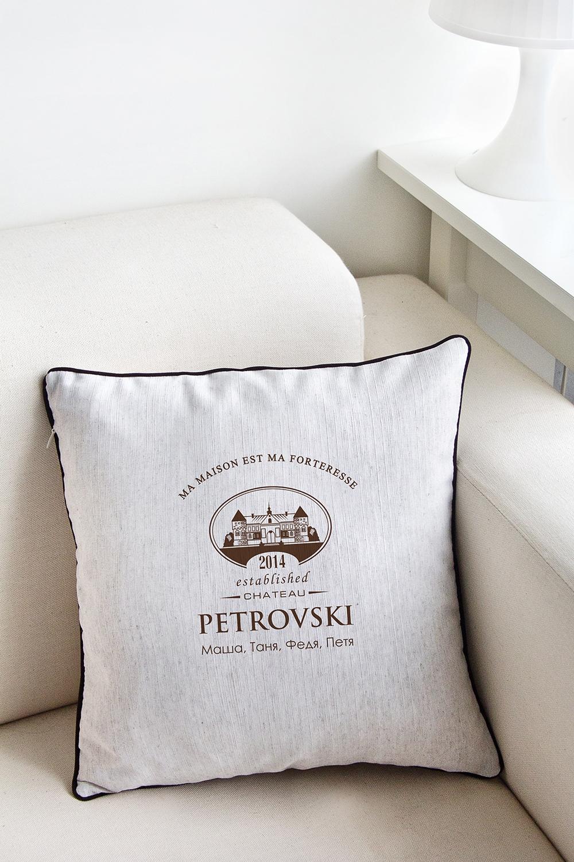 Наволочка с Вашим именем ChateauДекоративные подушки<br>Наволочка декоративная, с кантом, на молнии, размер 34*34см, бязь, с нанесением персонального текста<br>