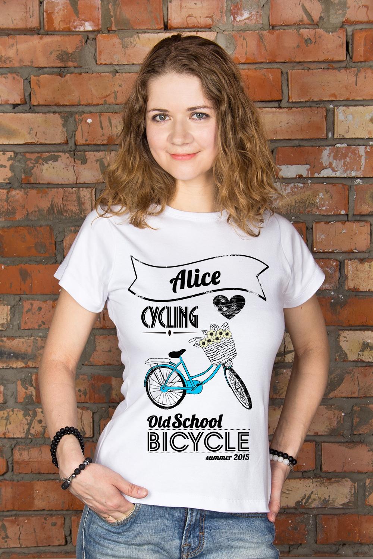 Футболка женская с вашим текстом BicycleПодарки<br>100% хлопок, белая, с нанесением текста<br>