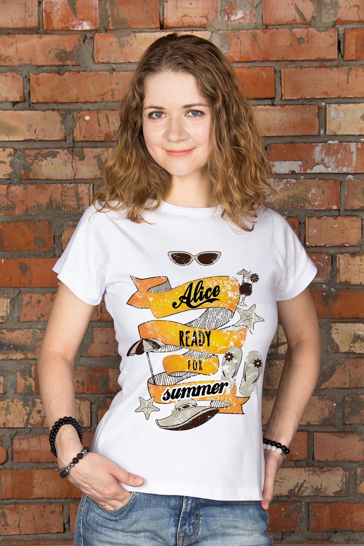 Футболка женская с вашим текстом Ready for SummerПодарки для женщин<br>100% хлопок, белая, с нанесением текста<br>