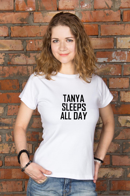 Футболка женская с вашим текстом Day and NightПодарки на день рождения<br>100% хлопок, белая, с нанесением текста<br>