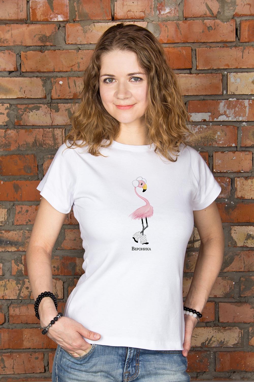 Футболка женская с вашим текстом ФламингоПодарки<br>100% хлопок, белая, с нанесением текста<br>