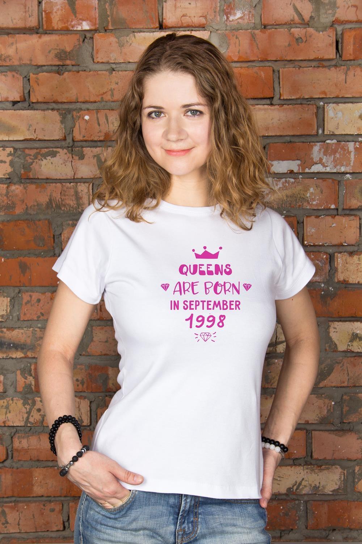 Футболка женская с вашим текстом КоролеваПодарки ко дню рождения<br>100% хлопок, белая, с нанесением текста<br>