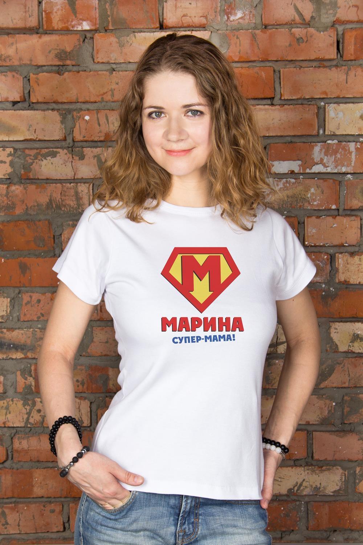 Футболка женская с вашим текстом СупервуменПодарки маме<br>100% хлопок, белая, с нанесением текста<br>