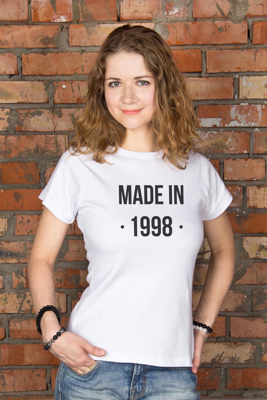 Футболка женская с вашим текстом Made inПодарки ко дню рождения<br>100% хлопок, белая, с нанесением текста<br>