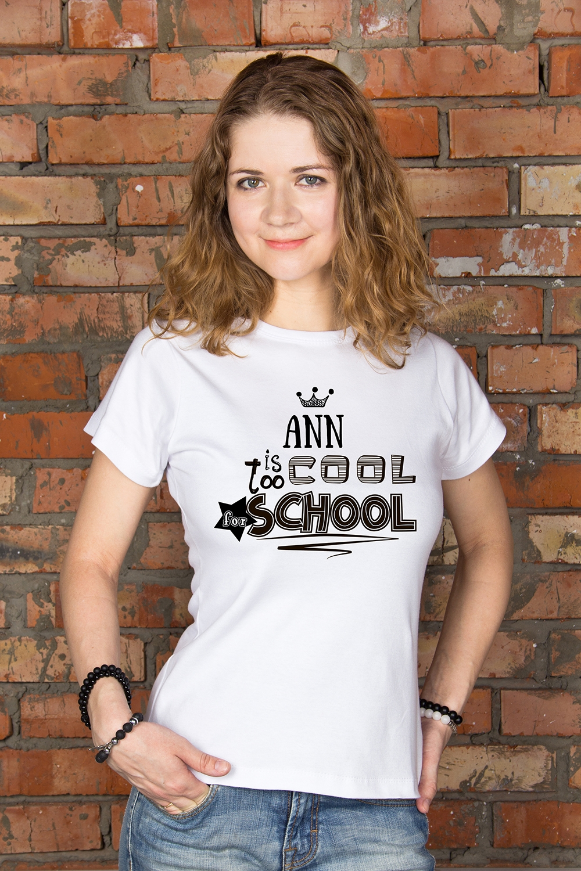 Футболка женская с вашим текстом Too cool for schoolПодарки ко дню рождения<br>100% хлопок, белая, с нанесением текста<br>