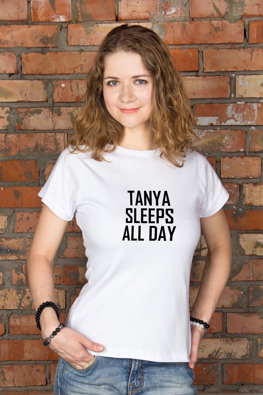 Футболка женская с вашим текстом Day and NightПодарки ко дню рождения<br>100% хлопок, белая, с нанесением текста<br>