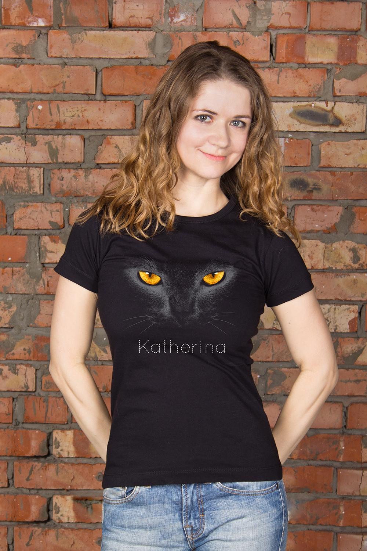 Футболка женская с вашим текстом Black catПодарки ко дню рождения<br>100% хлопок ,черная, с нанесением текста<br>