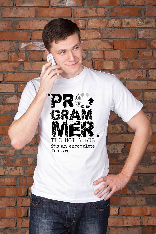 Футболка мужская с вашим текстом ProgrammerПодарки<br>Футболка мужская с Вашим текстом, 100% хлопок, белая<br>