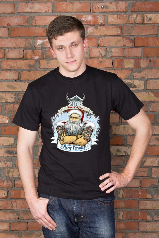 Футболка мужская с вашим текстом Брутальный Дед МорозПодарки для мужчин<br>Футболка мужская с Вашим текстом, 100% хлопок, черная<br>