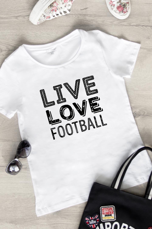 Футболка женская Live love footballПодарки<br>100% хлопок, белая<br>