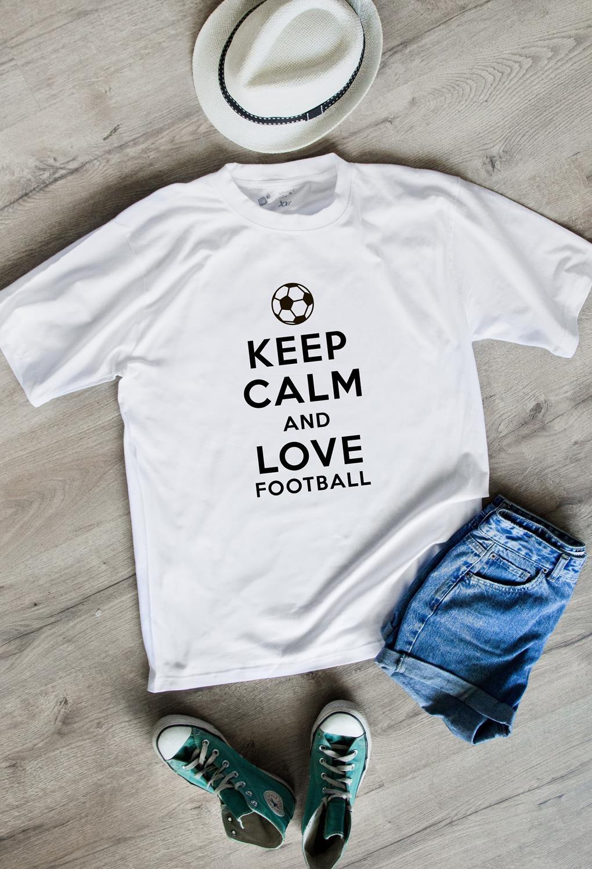 Футболка мужская Keep calm and love footballПодарки<br>100% хлопок, белая<br>