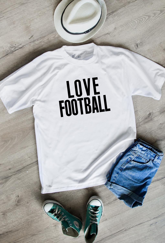 Футболка мужская I love footballПодарки<br>100% хлопок, белая<br>