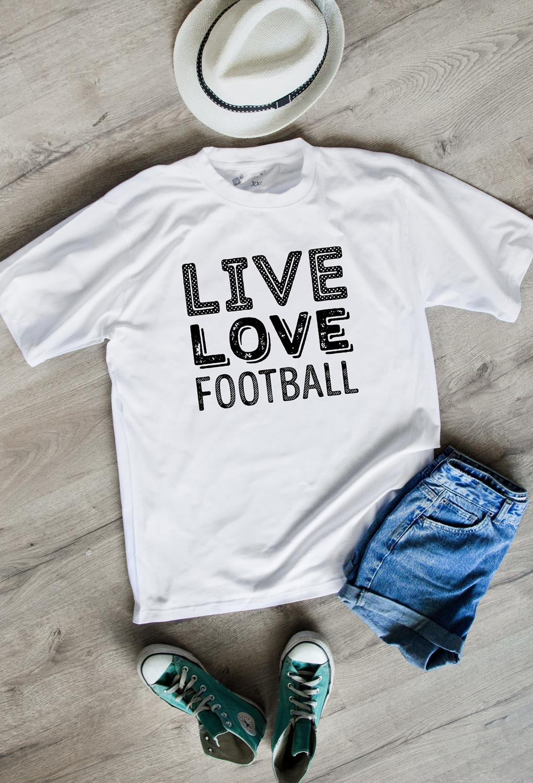 Футболка мужская Live love footballПодарки<br>100% хлопок, белая<br>