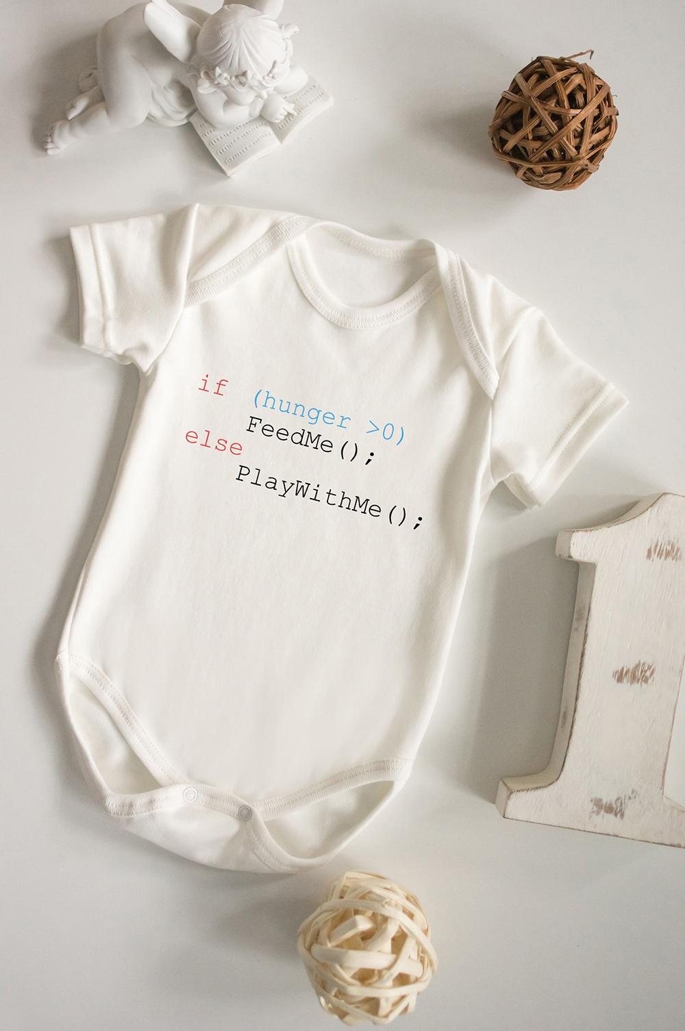 Боди для малыша с вашим текстом Простая логикаПерсональные подарки с Вашим именем<br>100% хлопок, бежевое, с нанесением текста<br>