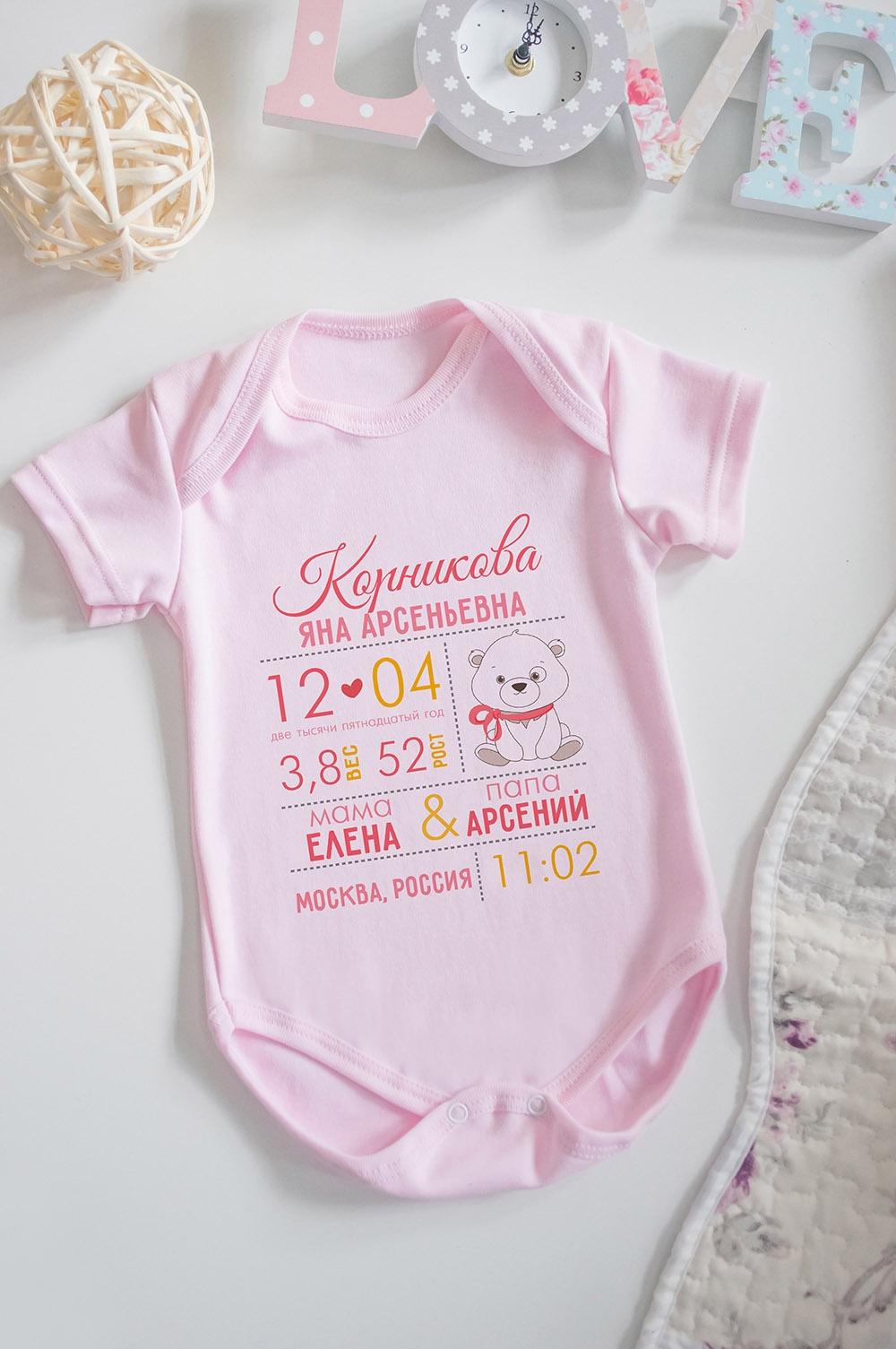 Боди для малыша с вашим текстом Первая визитная карточкаПодарки ко дню рождения<br>100% хлопок, розовое, с нанесением текста<br>
