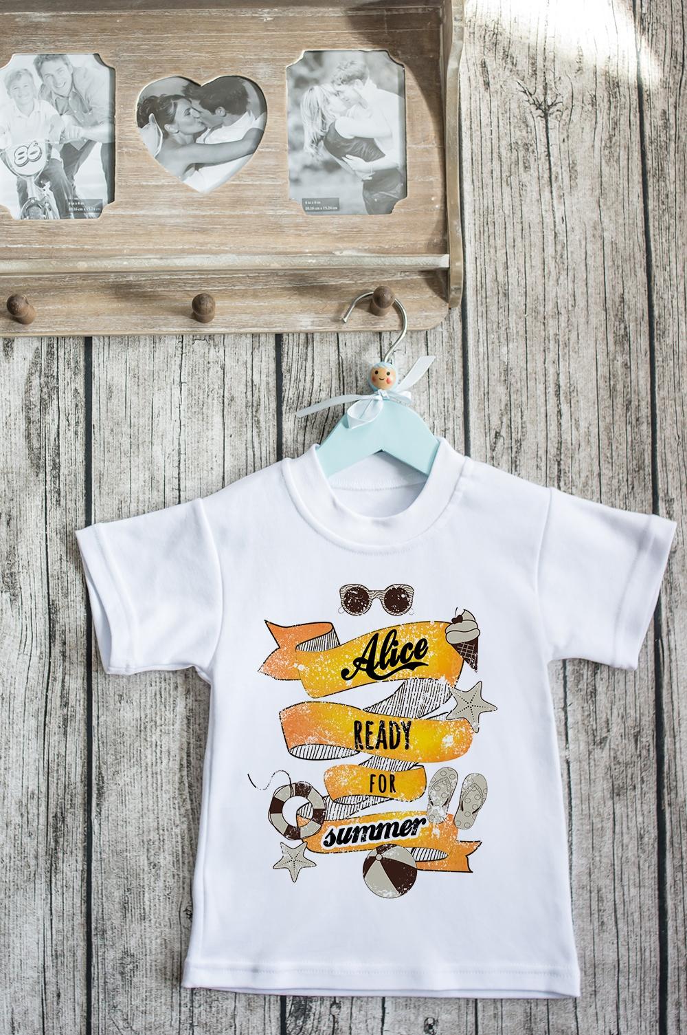 Футболка детская с вашим текстом Ready for SummerПерсональные подарки с Вашим именем<br>100% хлопок, белая, с нанесением текста. Товар является маломерным<br>