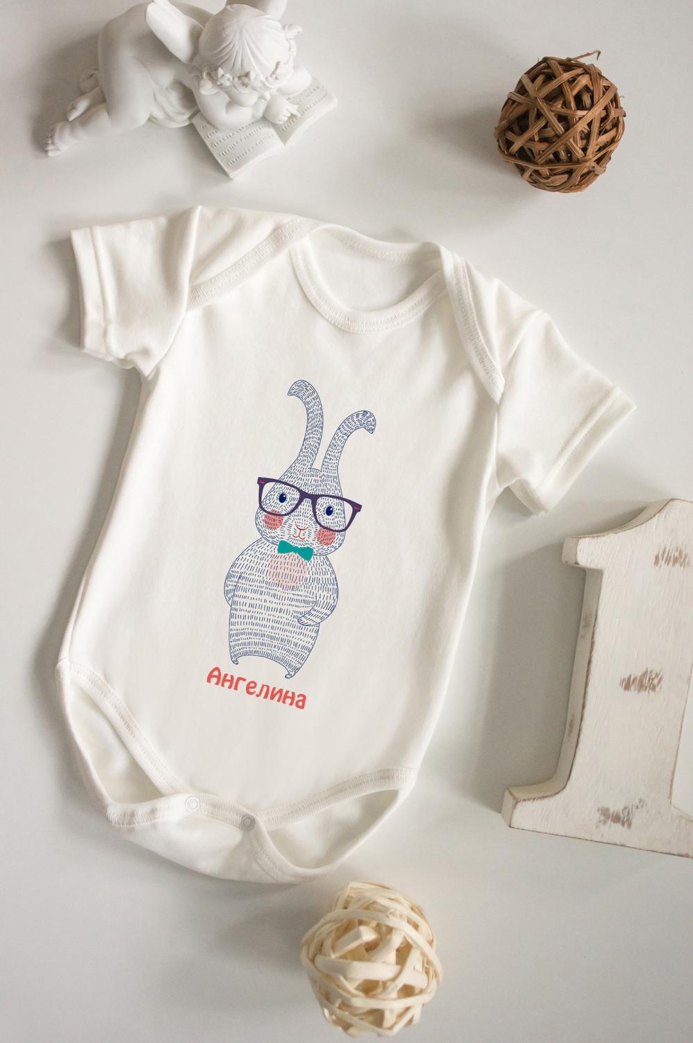 Боди для малыша с вашим текстом ЗайкаОригинальные и Необычные подарки<br>100% хлопок, бежевое, с нанесением текста<br>