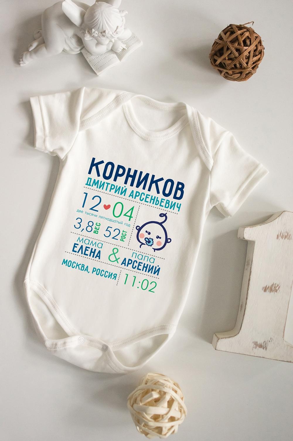 Боди для малыша с вашим текстом Первая визитная карточкаПерсональные подарки с Вашим именем<br>100% хлопок, бежевое, с нанесением текста<br>