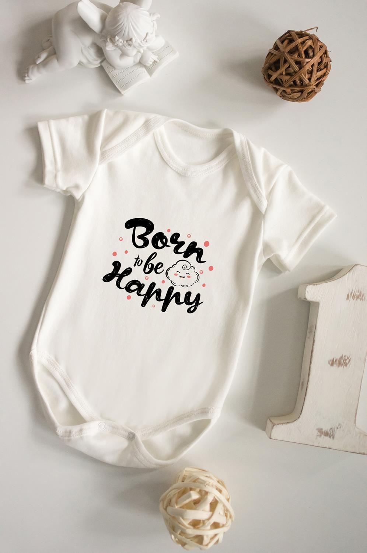 Боди для малыша с вашим текстом Born to be happyПодарки для малышей и новорожденных<br>100% хлопок, беж., с нанесением текста<br>
