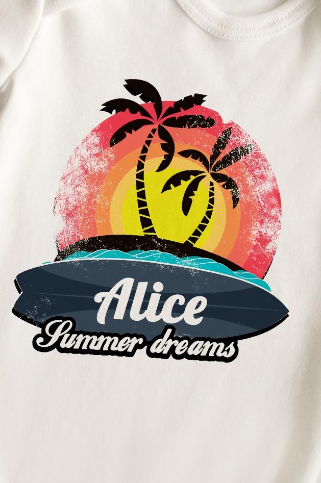 """Боди для малыша с вашим текстом """"Summer dreams"""""""