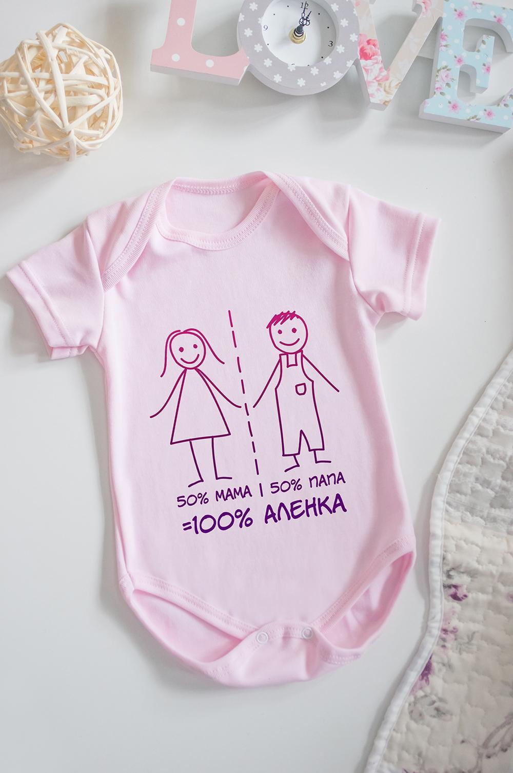 Боди для малыша с вашим текстом Простая математикаПерсональные подарки с Вашим именем<br>100% хлопок, розовое, с нанесением текста<br>