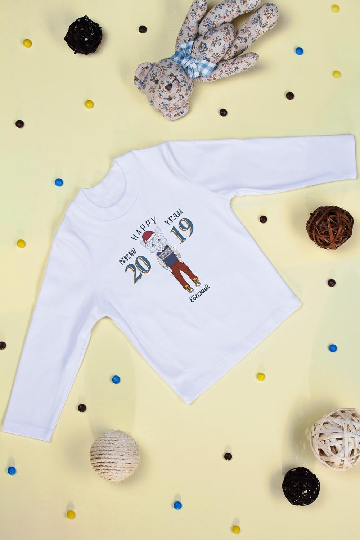 Футболка детская с длинным рукавом именная Новогодние хипстерыПодарки<br>Футболка детская с дл. рук. с нанесением текста, размер 134, белая Новогодние хипстеры. Материал: 100% хлопок<br>