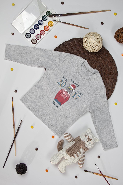 Футболка детская с длинным рукавом именная Новогодние хипстерыПодарки<br>Футболка детская с дл. рук. с нанесением текста, размер 134, серая Новогодние хипстеры. Материал: 100% хлопок<br>