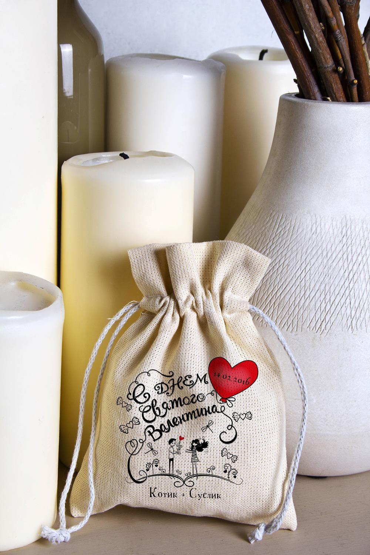 Мешочек маленький с Вашим текстом ЛюбовьСувениры и упаковка<br>Мешочек из плотного натурального материала (двунитка) с нанесением текста бежевый, размеры: высота - 18 см, ширина - 14 см.<br>