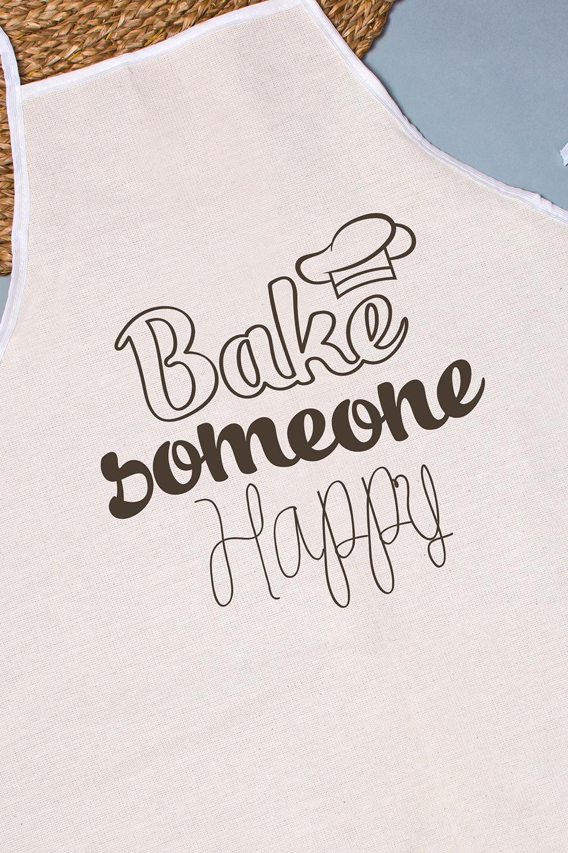 "Фартук кухонный с нанесением текста ""Bake someone happy"""