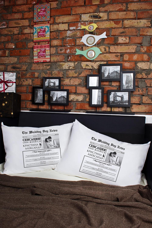 Наволочки с Вашим текстом Свадебная газетаДекоративные подушки<br>Персональные наволочки с Вашим текстом, 2шт., размер 50х70см, материал: 100% хлопок<br>
