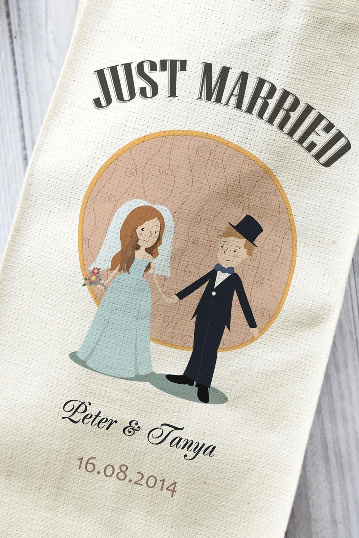 """Сумка для шампанского с Вашим текстом """"Just Married"""" от Красный куб"""