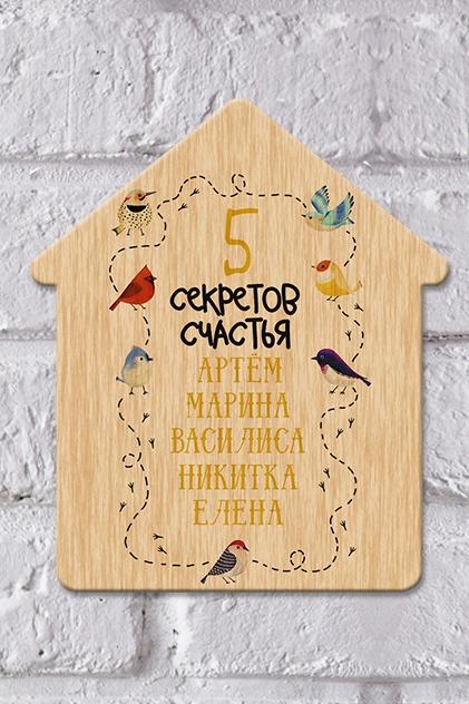 Табличка на дверь с вашим текстом ПтичкиИнтерьер<br>Табличка на дверь с нанесением текста, 16*19см, дерево<br>