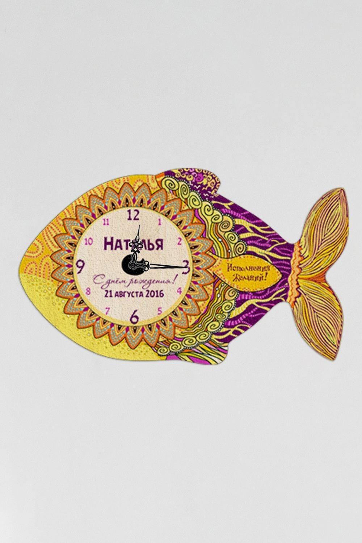 Часы настенные с Вашим именем Золотая рыбкаПодарки ко дню рождения<br>Оригинальные часы с именной надписью, размер 38Х22см, толщина 0,5 см, материал: МДФ<br>