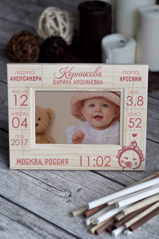 Рамка для фото с вашим текстом Первая визитная карточкаИнтерьер<br>Размер: 10*15см. Материал: дерево<br>