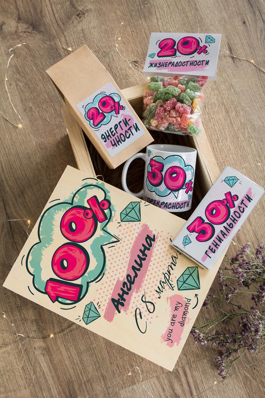 Набор сладостей с Вашим текстом 1Подарки<br>Набор именных сладостей в персональной подарочной коробке, 5 предметов (чай чёрный: 100г, мармелад-мишки: 200г, молочный шоколад с изюмом и орехами: 90г, кружка с Вашим текстом, подарочная коробка).<br>