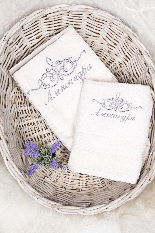 Набор полотенец с именной вышивкой ИменноеПодарки на 8 марта<br>2-предм., текстиль, белый. (50*90см, 70*130см), с персональной вышивкой<br>