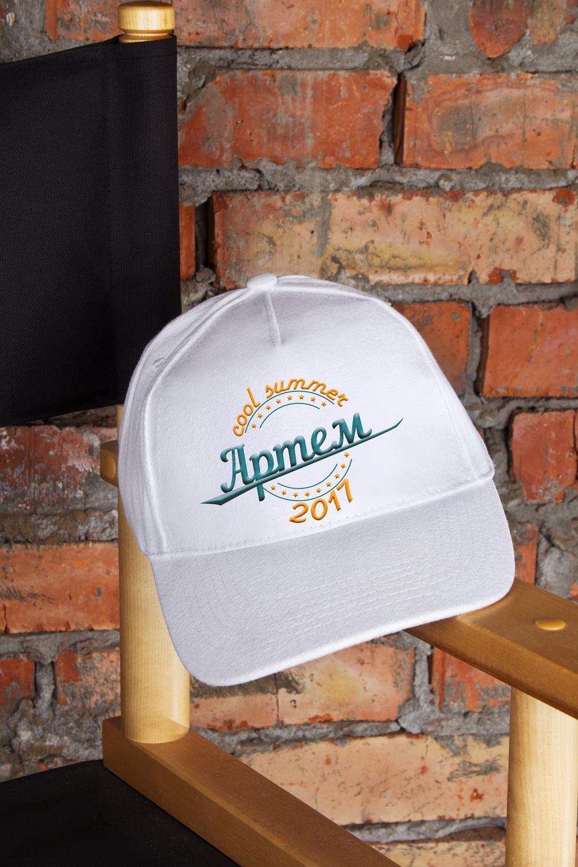 Бейсболка с именной вышивкой Cool summerПодарки ко дню рождения<br>Бейсболка с  именной вышивкой, белая, 100% хлопок<br>