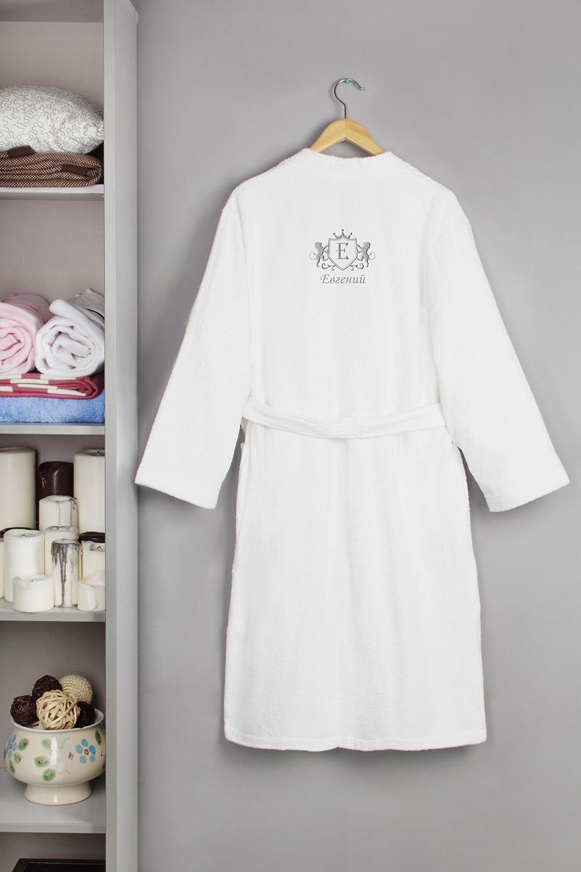 Халат банный с именной вышивкой ЛевПодарки<br>Банный халат с именной вышивкой, белый, 100% хлопок, размер one size, с запахом<br>