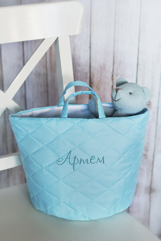 Корзина с именной вышивкой ИмяСумки с вашим текстом<br>Корзина декоративная, 37*24см, текстиль, голубой, с именной вышивкой<br>