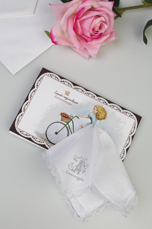 Открытка с носовым платком с индивидуальной вышивкой