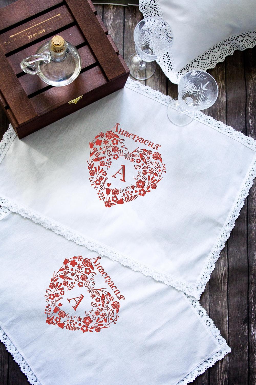 Салфетка с именной вышивкой Кружевное сердцеКухонный текстиль<br>Набор салфеток с кружевом из 2шт с персональной вышивкой. Состав: 100% хлопок. Размер: 35х50 см. цвет: белый<br>